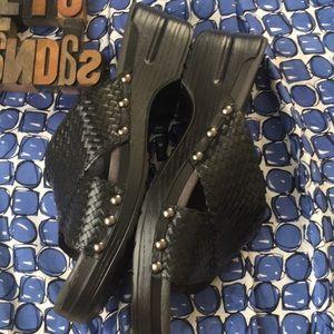 DANSKO 'Mila' Woven Leather Sandals in Black